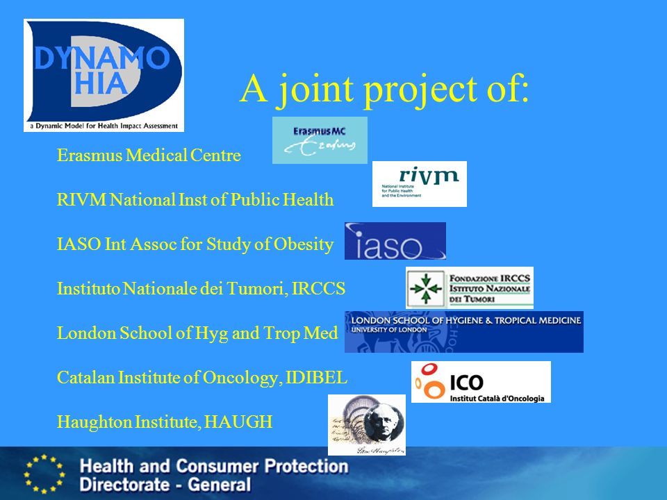 A joint project of: Erasmus Medical Centre RIVM National Inst of Public Health IASO Int Assoc for Study of Obesity Instituto Nationale dei Tumori, IRC