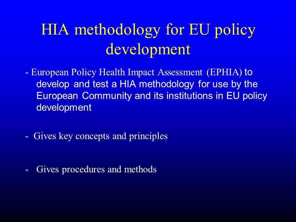 HIA methodology for EU policy development - European Policy Health Impact Assessment (EPHIA) to develop and test a HIA methodology for use by the Euro