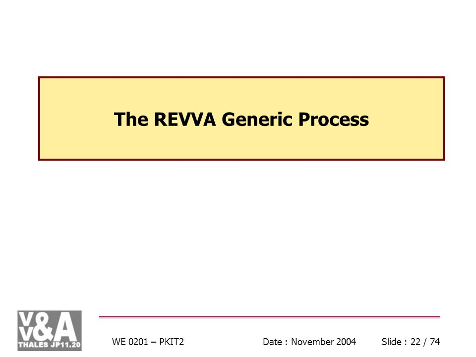 WE 0201 – PKIT2Date : November 2004Slide : 22 / 74 The REVVA Generic Process