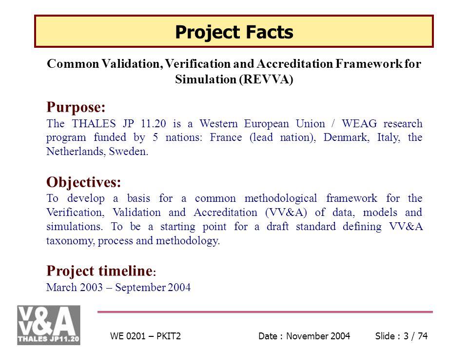 WE 0201 – PKIT2Date : November 2004Slide : 24 / 74 Phase Overlaps Develop ToA Acquire Information Develop ToVV Conduct V&V Assess Items of Evidence Assess Evidence Integration Evaluate V&V Report VV&A Endeavour Duration Main effort
