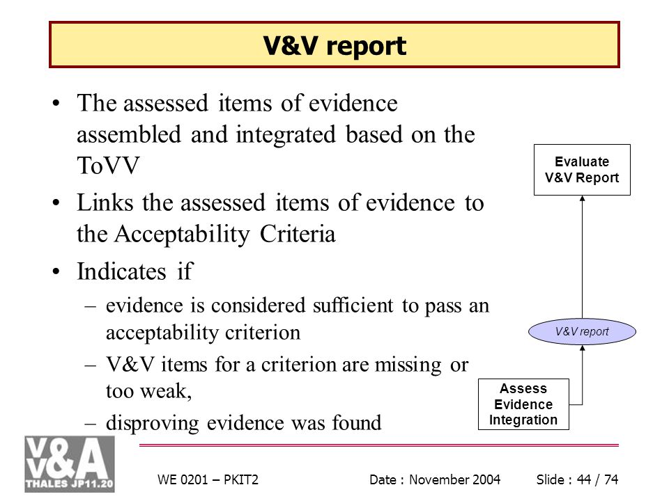 WE 0201 – PKIT2Date : November 2004Slide : 44 / 74 V&V report The assessed items of evidence assembled and integrated based on the ToVV Links the assessed items of evidence to the Acceptability Criteria Indicates if –evidence is considered sufficient to pass an acceptability criterion –V&V items for a criterion are missing or too weak, –disproving evidence was found Assess Evidence Integration Evaluate V&V Report V&V report