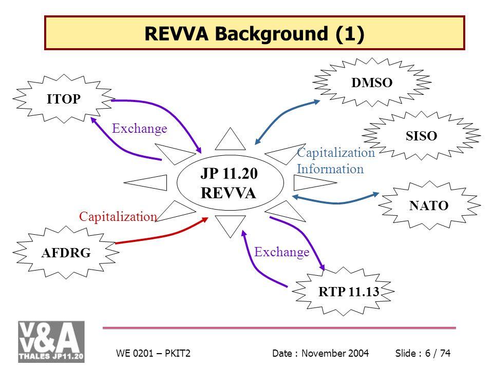 WE 0201 – PKIT2Date : November 2004Slide : 6 / 74 REVVA Background (1) JP 11.20 REVVA ITOP AFDRG DMSO Capitalization Exchange SISO NATO RTP 11.13 Exch
