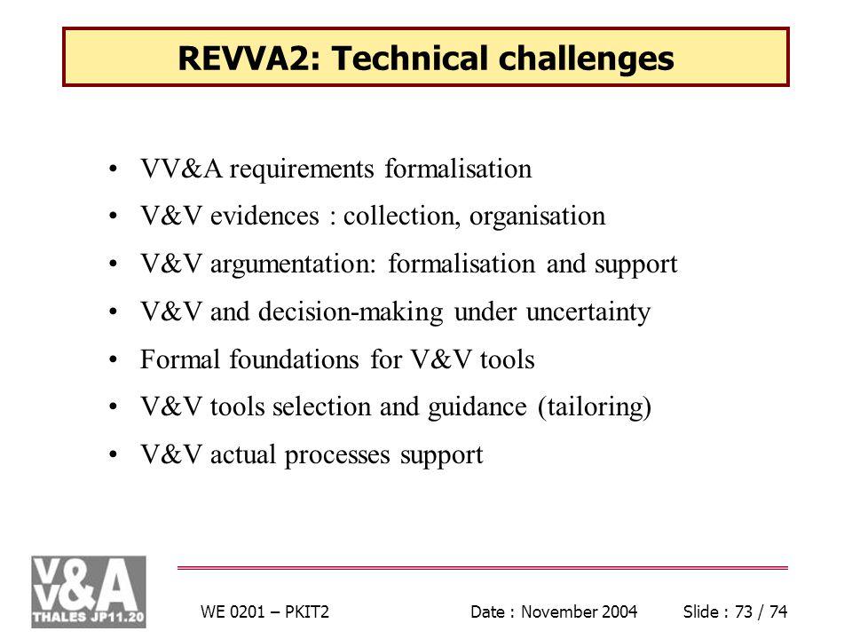 WE 0201 – PKIT2Date : November 2004Slide : 73 / 74 REVVA2: Technical challenges VV&A requirements formalisation V&V evidences : collection, organisation V&V argumentation: formalisation and support V&V and decision-making under uncertainty Formal foundations for V&V tools V&V tools selection and guidance (tailoring) V&V actual processes support