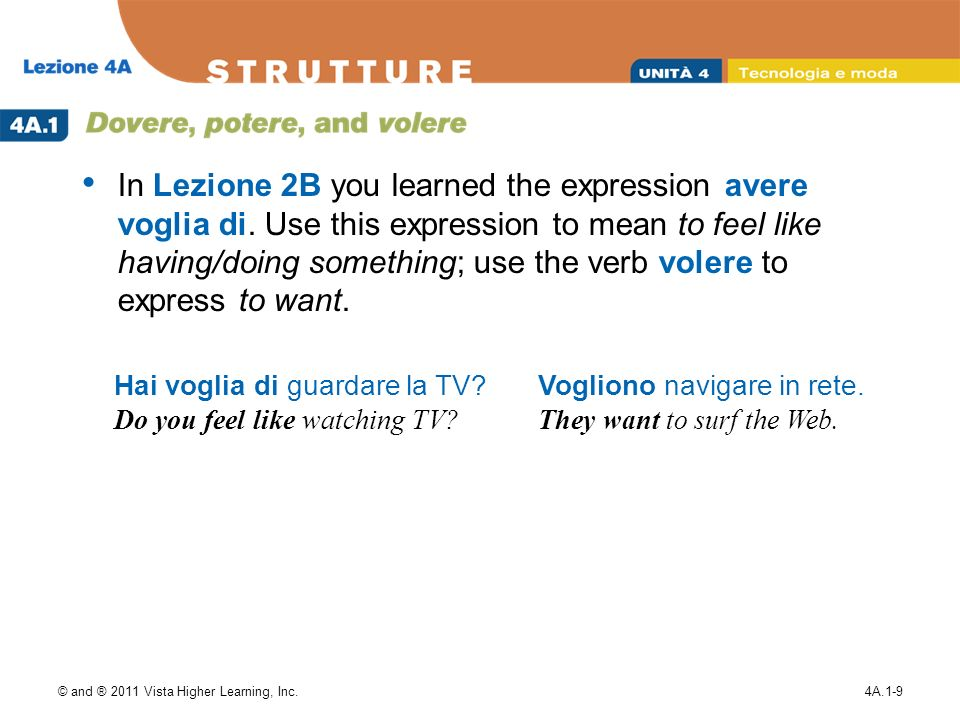 © and ® 2011 Vista Higher Learning, Inc.4A.1-9 In Lezione 2B you learned the expression avere voglia di. Use this expression to mean to feel like havi