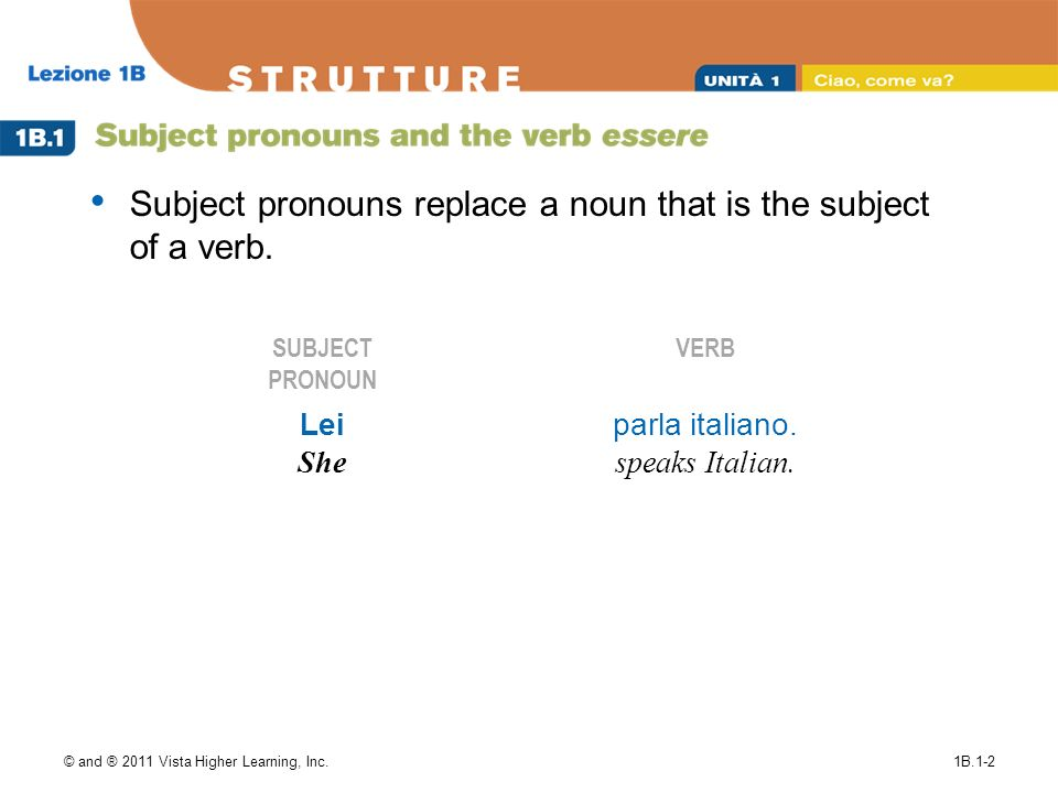 © and ® 2011 Vista Higher Learning, Inc.1B.1-2 Subject pronouns replace a noun that is the subject of a verb. SUBJECT PRONOUN VERB Lei She parla itali