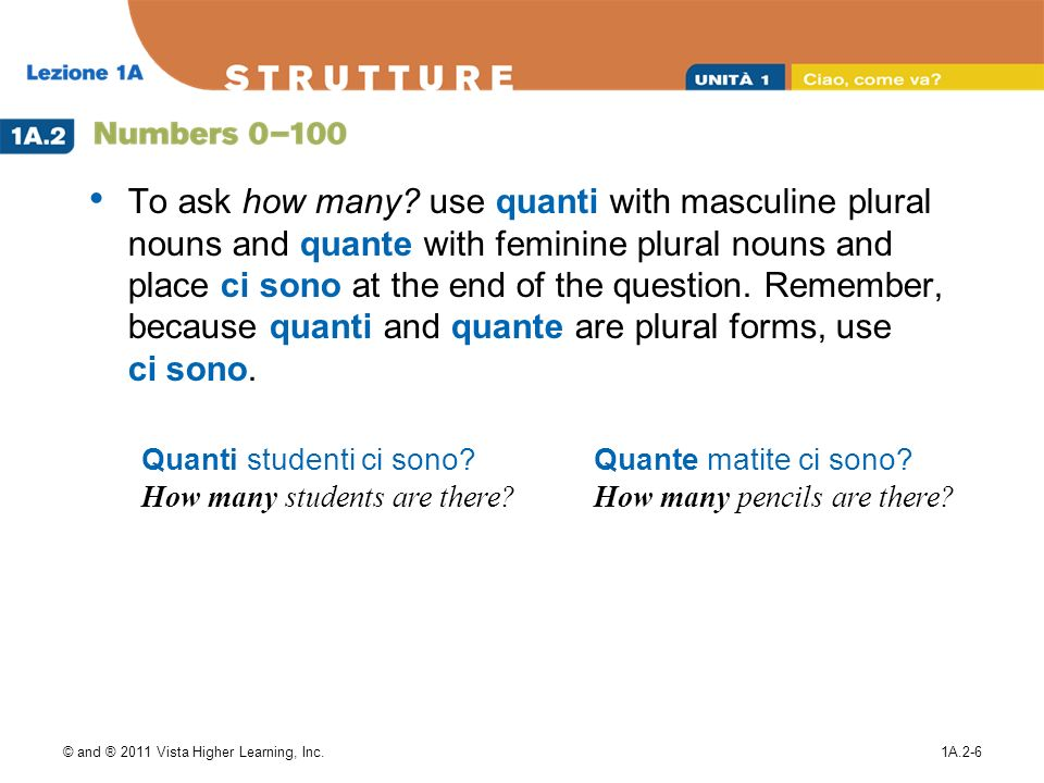 © and ® 2011 Vista Higher Learning, Inc.1A.2-6 To ask how many? use quanti with masculine plural nouns and quante with feminine plural nouns and place