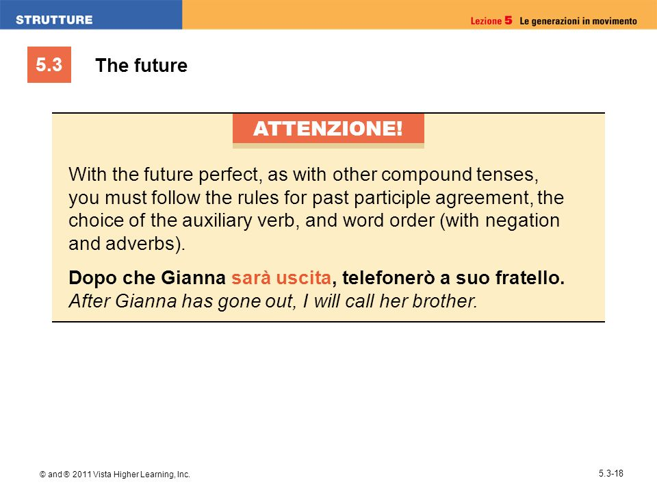 5.3 © and ® 2011 Vista Higher Learning, Inc. 5.3-18 The future ATTENZIONE! With the future perfect, as with other compound tenses, you must follow the
