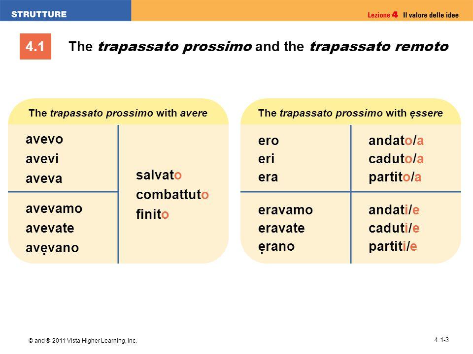 4.1 © and ® 2011 Vista Higher Learning, Inc. 4.1-3 The trapassato prossimo and the trapassato remoto The trapassato prossimo with ssere ero eri era an