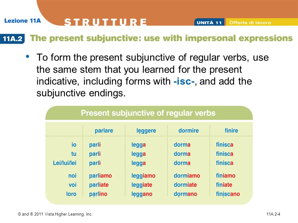 © and ® 2011 Vista Higher Learning, Inc.11A.2-4 To form the present subjunctive of regular verbs, use the same stem that you learned for the present indicative, including forms with -isc-, and add the subjunctive endings.