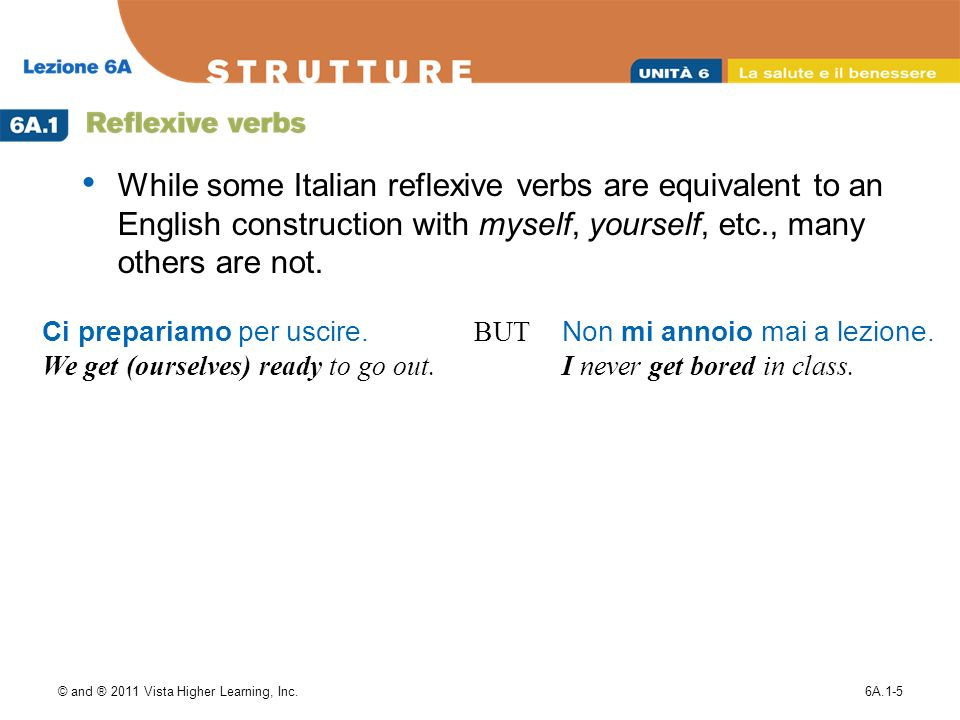 © and ® 2011 Vista Higher Learning, Inc.6A.1-5 While some Italian reflexive verbs are equivalent to an English construction with myself, yourself, etc