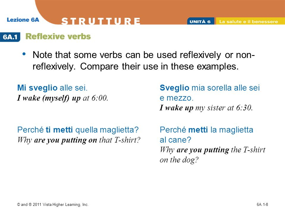 © and ® 2011 Vista Higher Learning, Inc.6A.1-8 Note that some verbs can be used reflexively or non- reflexively. Compare their use in these examples.