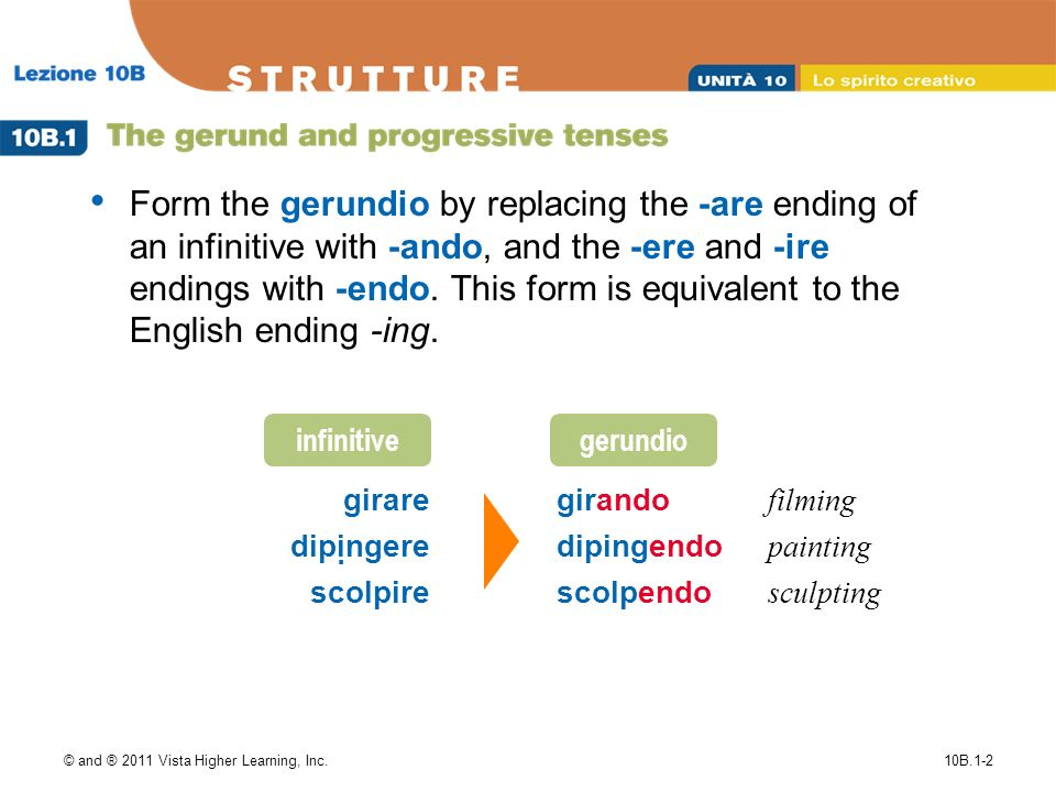 © and ® 2011 Vista Higher Learning, Inc.10B.1-2 Form the gerundio by replacing the -are ending of an infinitive with -ando, and the -ere and -ire endings with -endo.