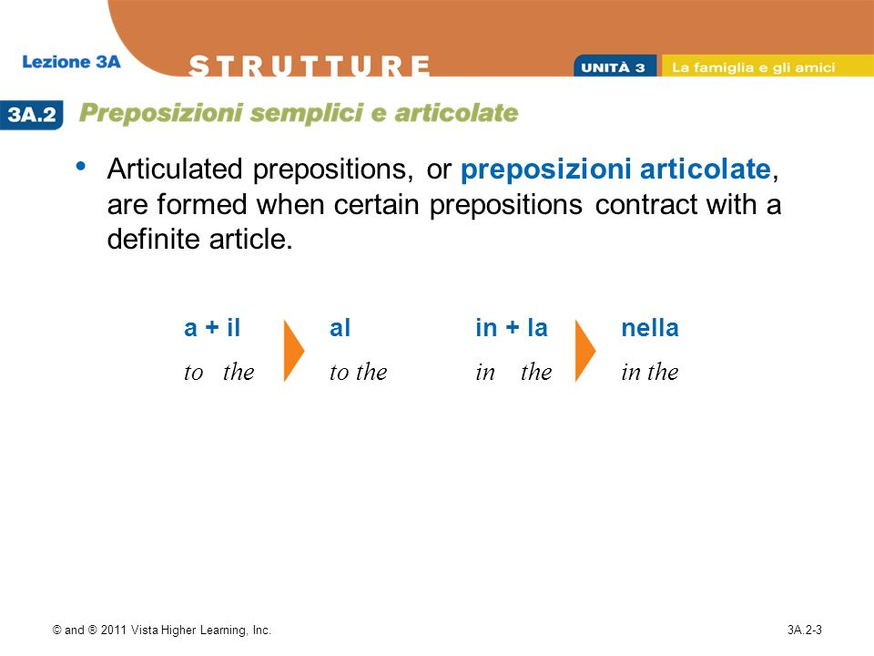 © and ® 2011 Vista Higher Learning, Inc.3A.2-3 Articulated prepositions, or preposizioni articolate, are formed when certain prepositions contract wit