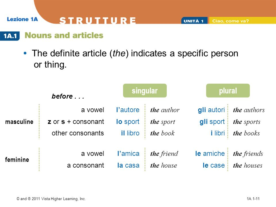 © and ® 2011 Vista Higher Learning, Inc.1A.1-11 The definite article (the) indicates a specific person or thing. singular before... masculine a vowell