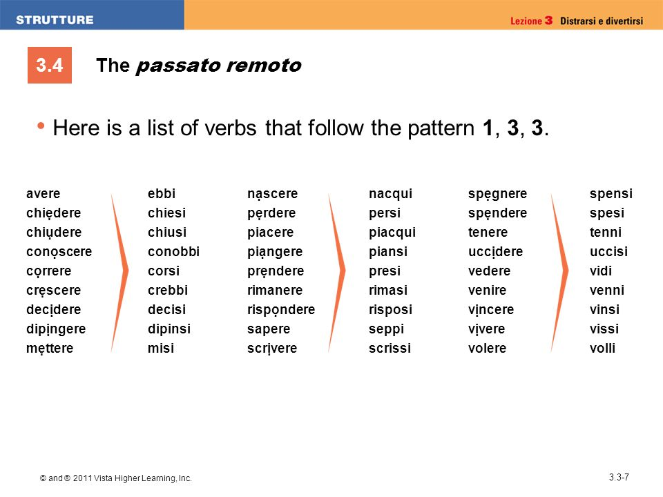 3.4 © and ® 2011 Vista Higher Learning, Inc. 3.3-7 The passato remoto Here is a list of verbs that follow the pattern 1, 3, 3. avere chidere conscere