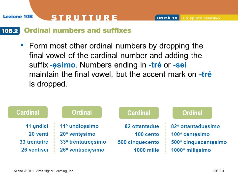© and ® 2011 Vista Higher Learning, Inc.10B.2-3 Form most other ordinal numbers by dropping the final vowel of the cardinal number and adding the suffix -simo.