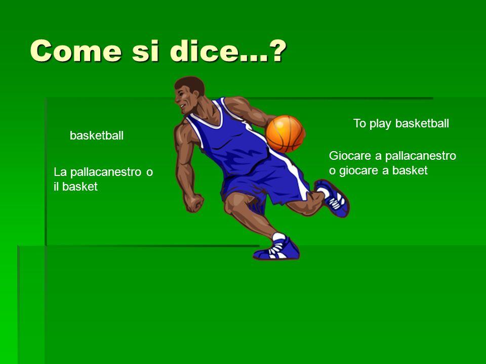 Come si dice…? basketball La pallacanestro o il basket To play basketball Giocare a pallacanestro o giocare a basket