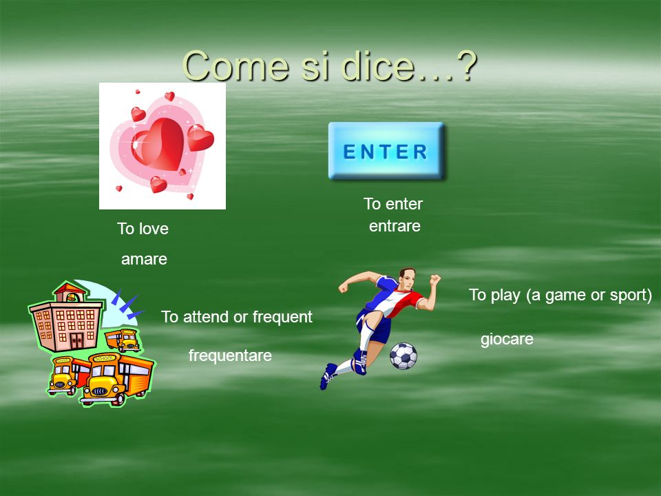 Come si dice…? To love To enter To attend or frequent To play (a game or sport) amare entrare frequentare giocare