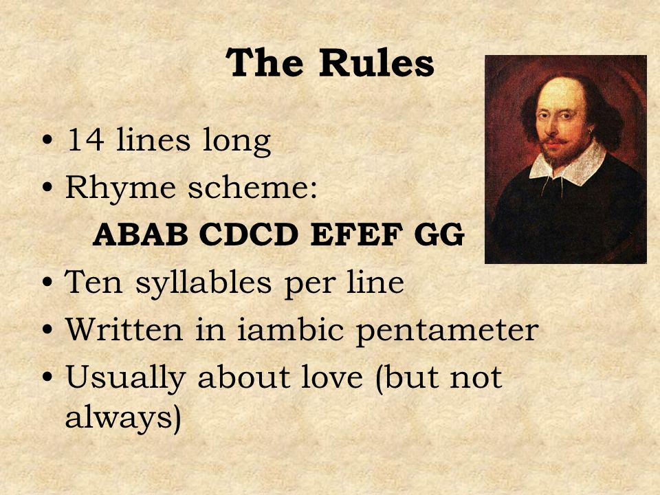 The Rules 14 lines long Rhyme scheme: ABAB CDCD EFEF GG Ten syllables per line Written in iambic pentameter Usually about love (but not always)
