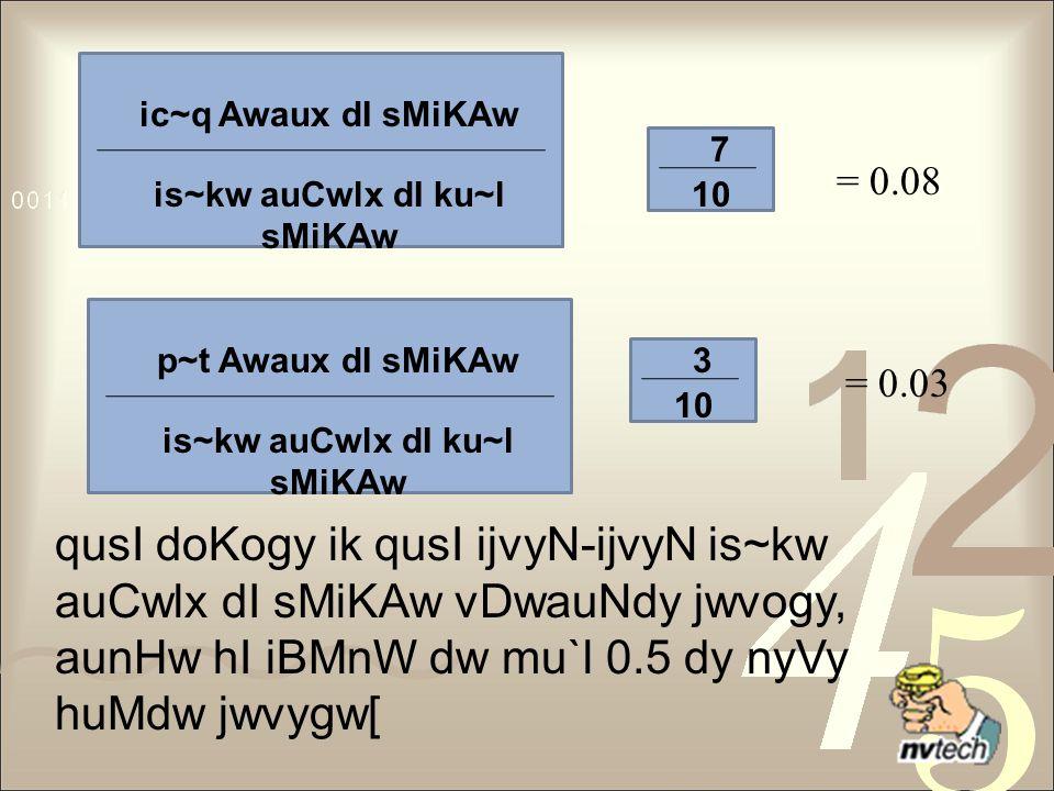 ic~q Awaux dI sMiKAw is~kw auCwlx dI ku~l sMiKAw p~t Awaux dI sMiKAw is~kw auCwlx dI ku~l sMiKAw 7 10 3 = 0.08 = 0.03 qusI doKogy ik qusI ijvyN-ijvyN is~kw auCwlx dI sMiKAw vDwauNdy jwvogy, aunHw hI iBMnW dw mu`l 0.5 dy nyVy huMdw jwvygw[