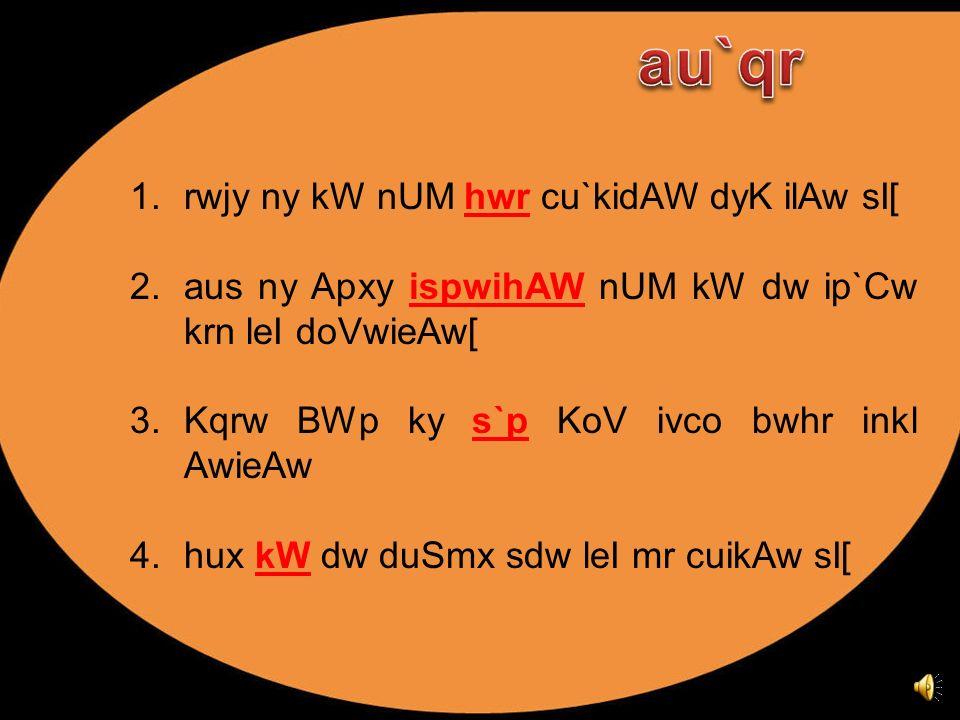 1.rwjy ny kW nUM ____ cu`kidAW dyK ilAw sI[ 2.aus ny Apxy ______ nUM kW dw ip`Cw krn leI doVwieAw[ 3.Kqrw BWp ky ___ KoV ivco bwhr inkl AwieAw 4.hux _