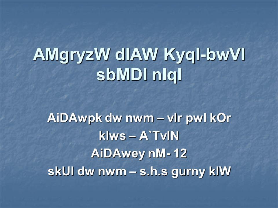AMgryzW dIAW KyqI-bwVI sbMDI nIqI AiDAwpk dw nwm – vIr pwl kOr klws – A`TvIN AiDAwey nM- 12 skUl dw nwm – s.h.s gurny klW