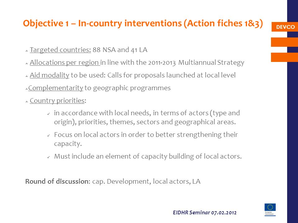 DEVCO EIDHR Seminar 07.02.2012 Objective 1 – In-country interventions (Action fiches 1&3) Targeted countries: 88 NSA and 41 LA Allocations per region