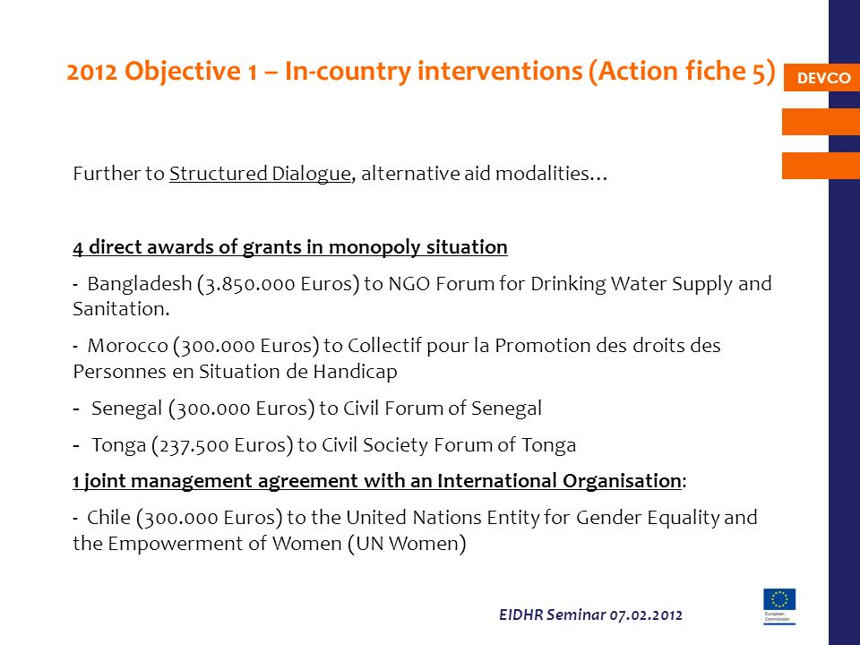 DEVCO EIDHR Seminar 07.02.2012 2012 Objective 1 – In-country interventions (Action fiche 5) Further to Structured Dialogue, alternative aid modalities