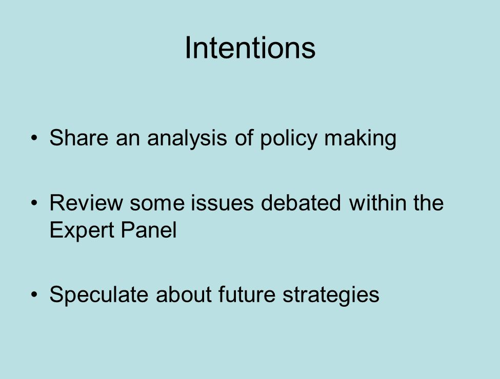 Intentions Share an analysis of policy making Review some issues debated within the Expert Panel Speculate about future strategies