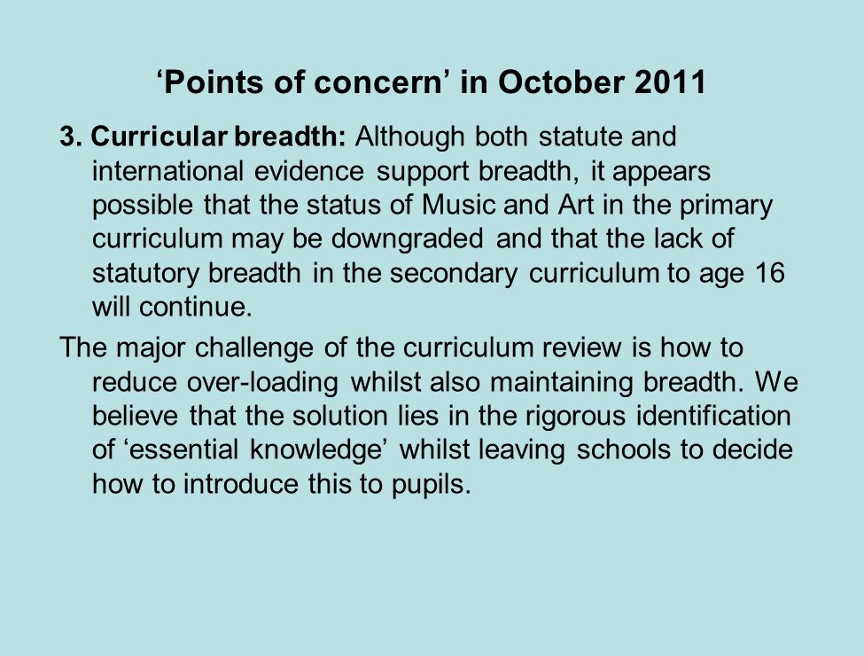 Points of concern in October 2011 3.