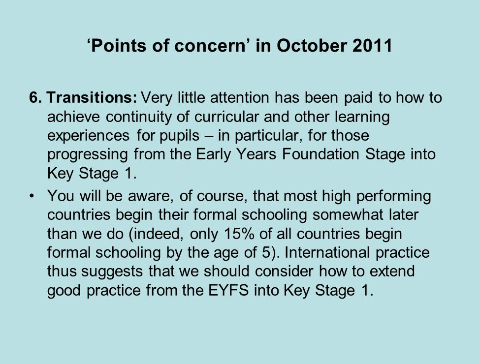 Points of concern in October 2011 6.