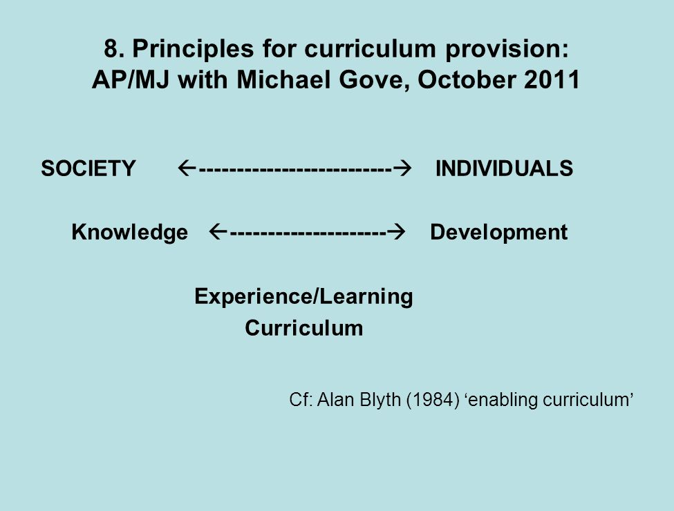 8. Principles for curriculum provision: AP/MJ with Michael Gove, October 2011 SOCIETY -------------------------- INDIVIDUALS Knowledge ---------------