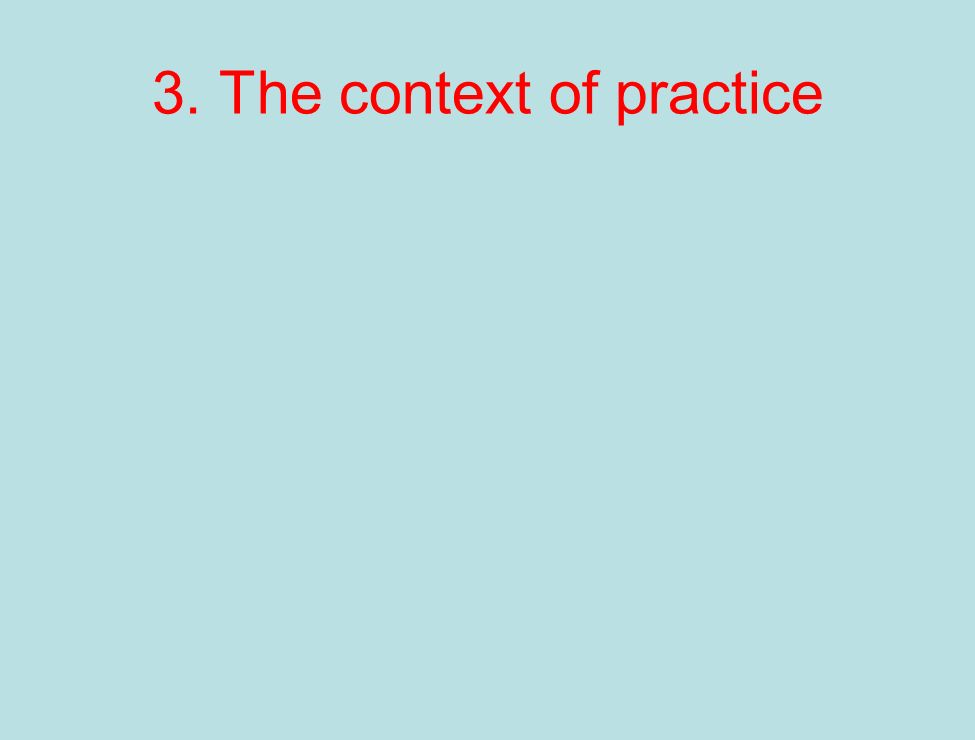3. The context of practice