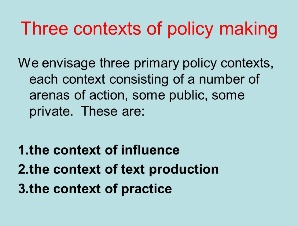 1. The context of influence