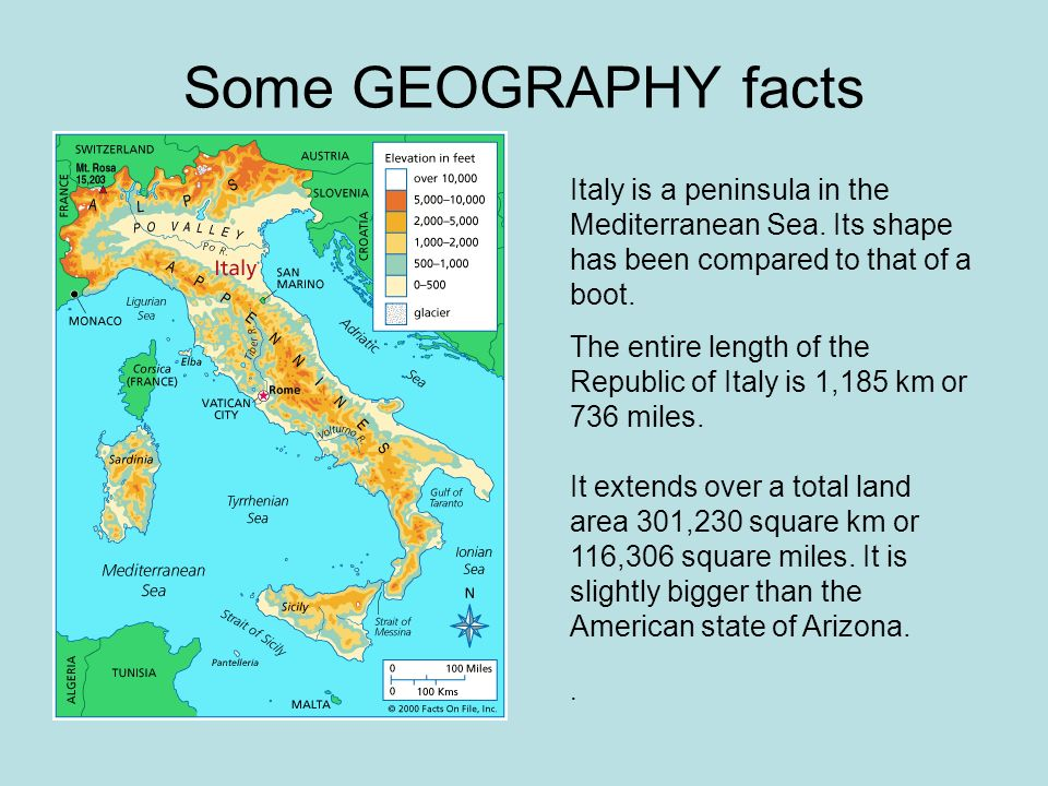 Some GEOGRAPHY facts Italy is a peninsula in the Mediterranean Sea.