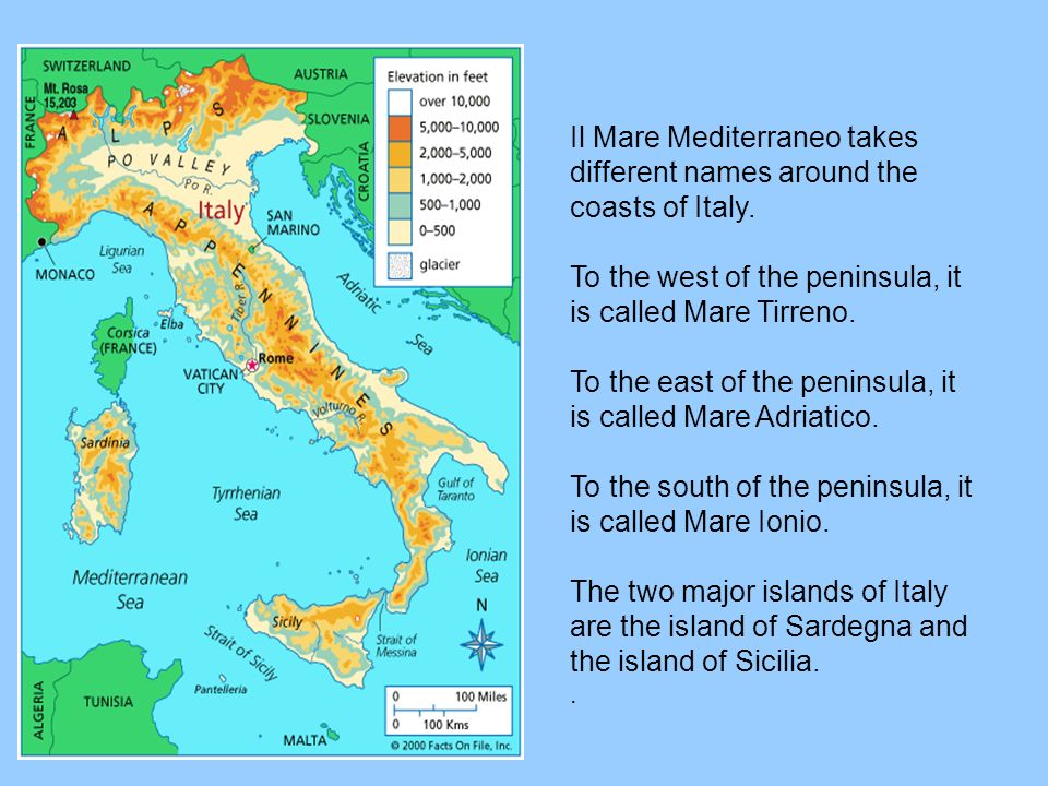 Il Mare Mediterraneo takes different names around the coasts of Italy. To the west of the peninsula, it is called Mare Tirreno. To the east of the pen
