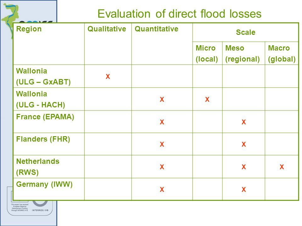 RegionQualitativeQuantitative Scale Micro (local) Meso (regional) Macro (global) Wallonia (ULG – GxABT) X Wallonia (ULG - HACH) XX France (EPAMA) XX F