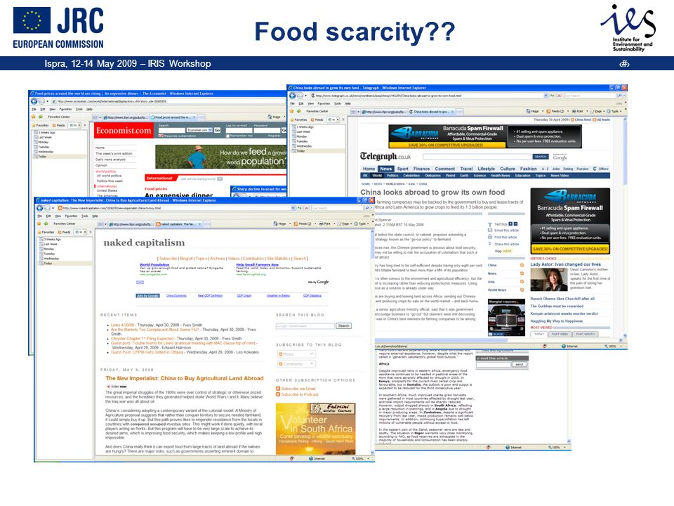 Ispra, 12-14 May 2009 – IRIS Workshop 2 Food scarcity??