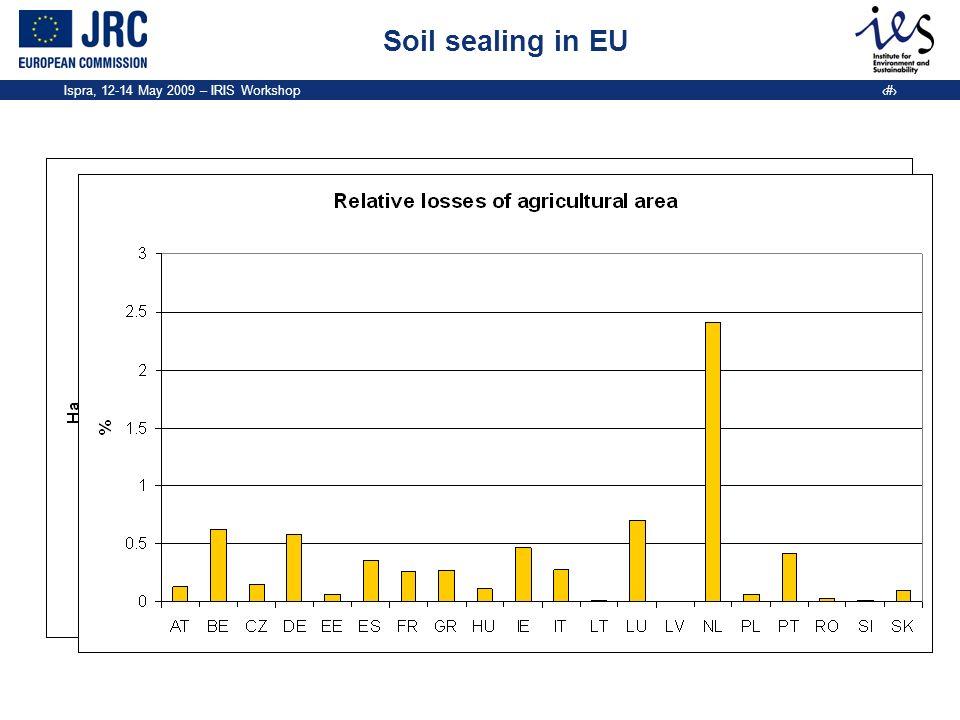 Ispra, 12-14 May 2009 – IRIS Workshop 5 Soil sealing in EU