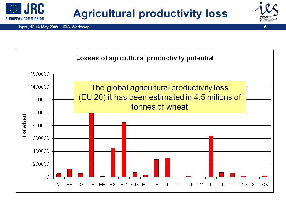 Ispra, 12-14 May 2009 – IRIS Workshop 6 Agricultural productivity loss The global agricultural productivity loss (EU 20) it has been estimated in 4.5