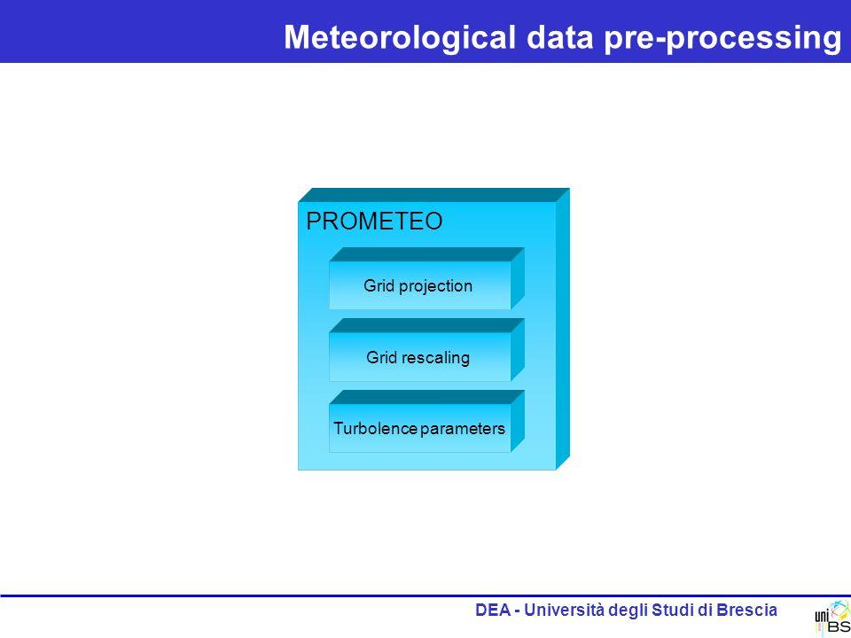DEA - Università degli Studi di Brescia Meteorological data pre-processing PROMETEO Grid projection Grid rescaling Turbolence parameters