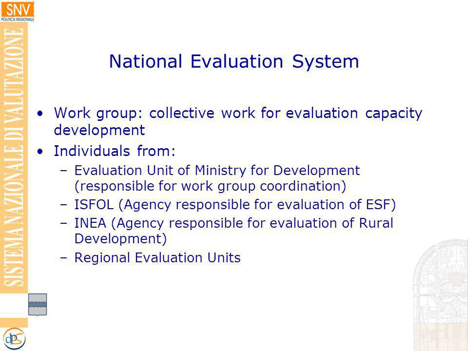 National Evaluation System Work group: collective work for evaluation capacity development Individuals from: –Evaluation Unit of Ministry for Development (responsible for work group coordination) –ISFOL (Agency responsible for evaluation of ESF) –INEA (Agency responsible for evaluation of Rural Development) –Regional Evaluation Units