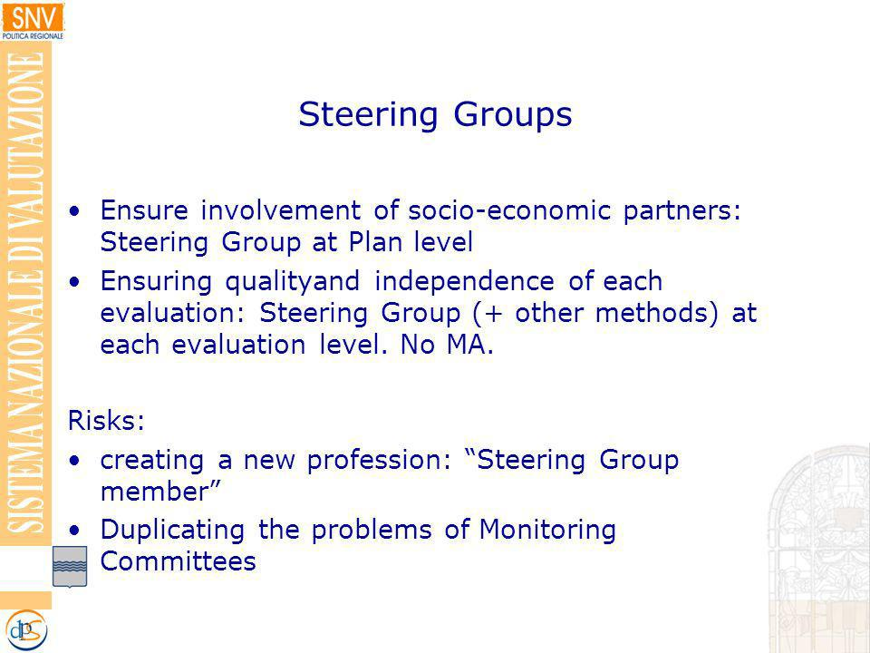 Steering Groups Ensure involvement of socio-economic partners: Steering Group at Plan level Ensuring qualityand independence of each evaluation: Steering Group (+ other methods) at each evaluation level.