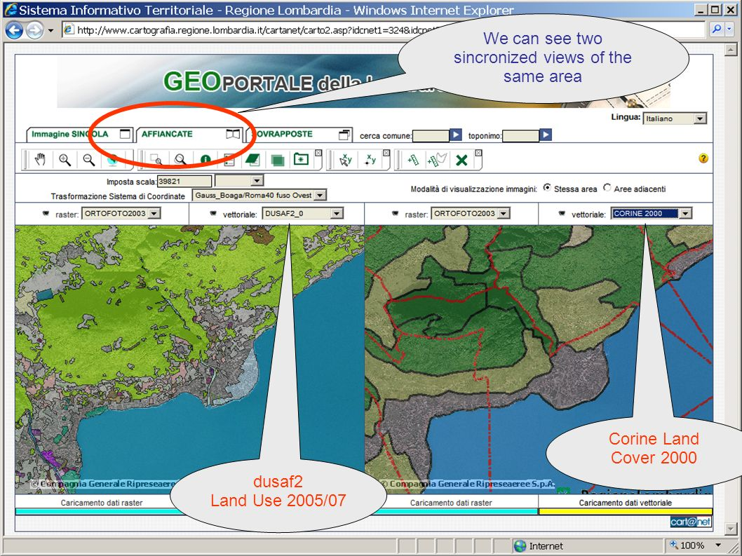 Regione Lombardia SDI dusaf2 Land Use 2005/07 Corine Land Cover 2000 We can see two sincronized views of the same area