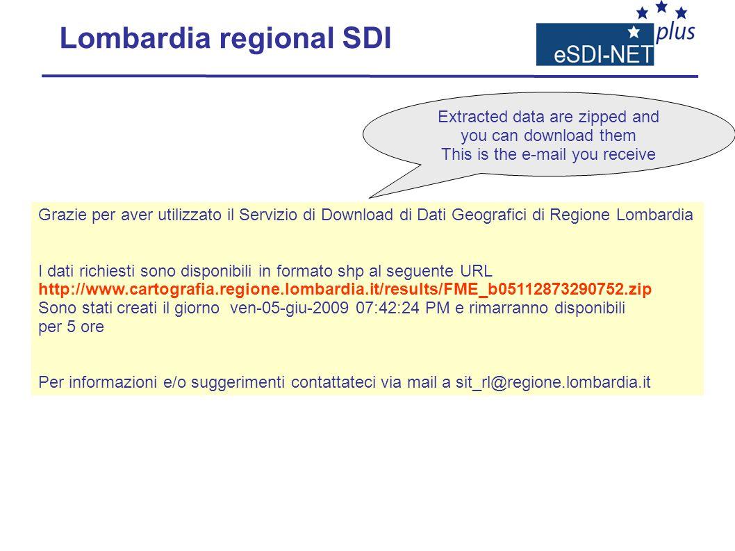 Grazie per aver utilizzato il Servizio di Download di Dati Geografici di Regione Lombardia I dati richiesti sono disponibili in formato shp al seguent