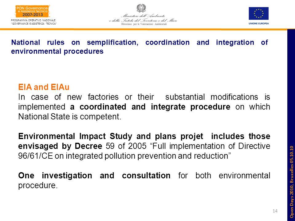 14 PROGRAMMA OPERATIVO NAZIONALE GOVERNANCE E ASSISTENZA TECNICA Direzione per le Valutazioni Ambientali National rules on semplification, coordinatio