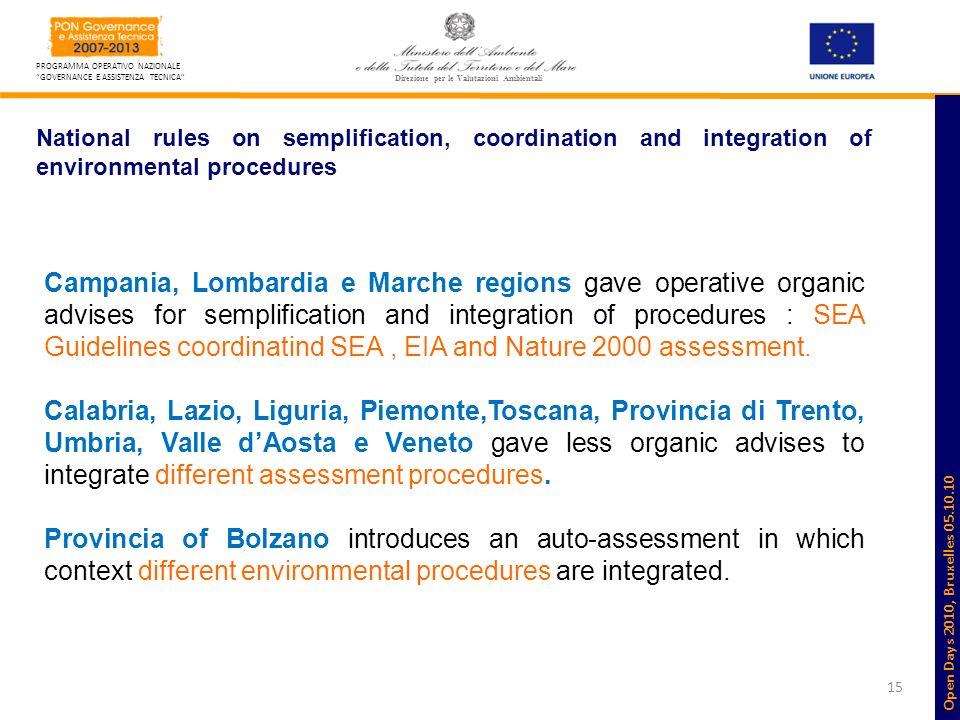 15 PROGRAMMA OPERATIVO NAZIONALE GOVERNANCE E ASSISTENZA TECNICA Direzione per le Valutazioni Ambientali National rules on semplification, coordinatio