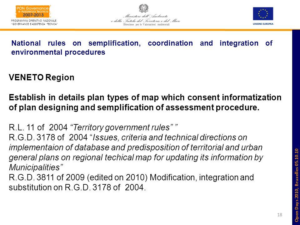 18 PROGRAMMA OPERATIVO NAZIONALE GOVERNANCE E ASSISTENZA TECNICA Direzione per le Valutazioni Ambientali National rules on semplification, coordinatio