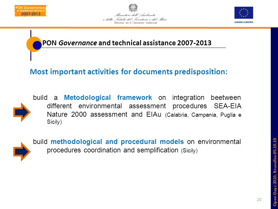 20 Most important activities for documents predisposition: build a Metodological framework on integration beetween different environmental assessment procedures SEA-EIA Nature 2000 assessment and EIAu (Calabria, Campania, Puglia e Sicily) build methodological and procedural models on environmental procedures coordination and semplification (Sicily) Direzione per le Valutazioni Ambientali PON Governance and technical assistance 2007-2013 Open Days 2010, Bruxelles 05.10.10