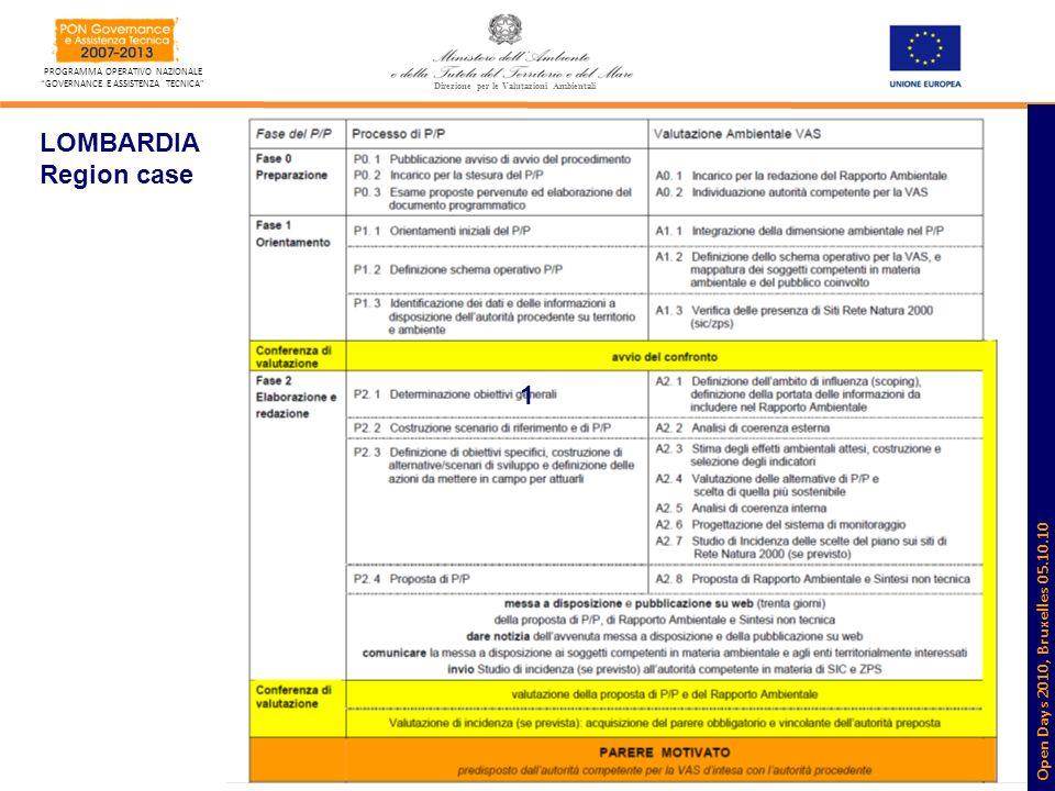 8 PROGRAMMA OPERATIVO NAZIONALE GOVERNANCE E ASSISTENZA TECNICA VAS_Monitoraggio Direzione per le Valutazioni Ambientali LOMBARDIA Region case 1 Open